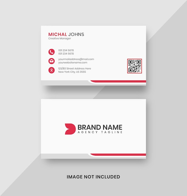 Simple clean white business card design template Premium Psd