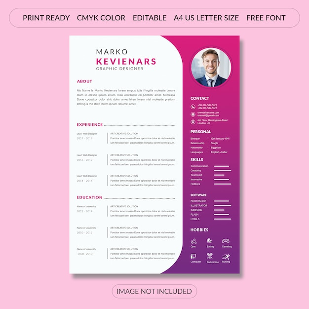 simple cv resume template design on pink psd file