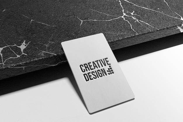 premium psd  simple embossed logo mockup on business card