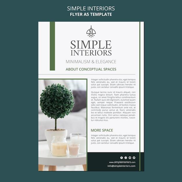 식물과 간단한 인테리어 전단지 템플릿 무료 PSD 파일