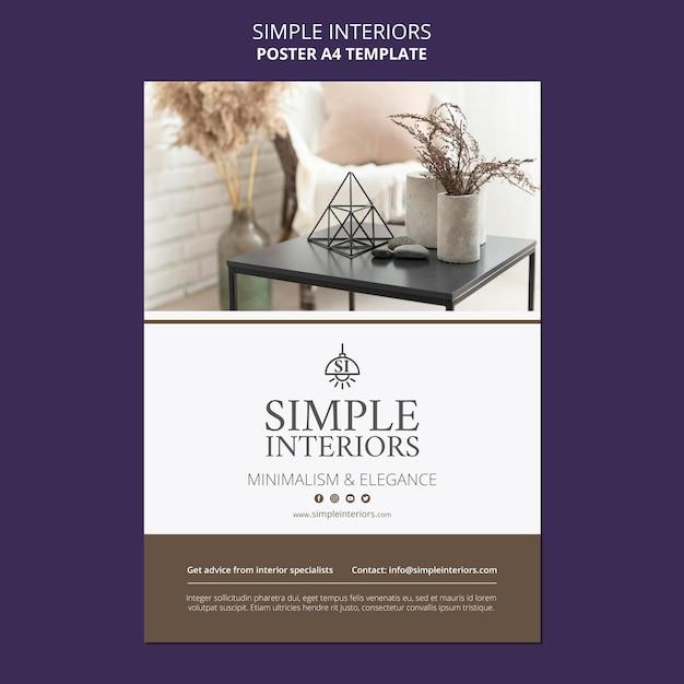 가구와 간단한 인테리어 포스터 템플릿 무료 PSD 파일