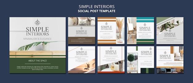 Simple interiors social media post template Premium Psd