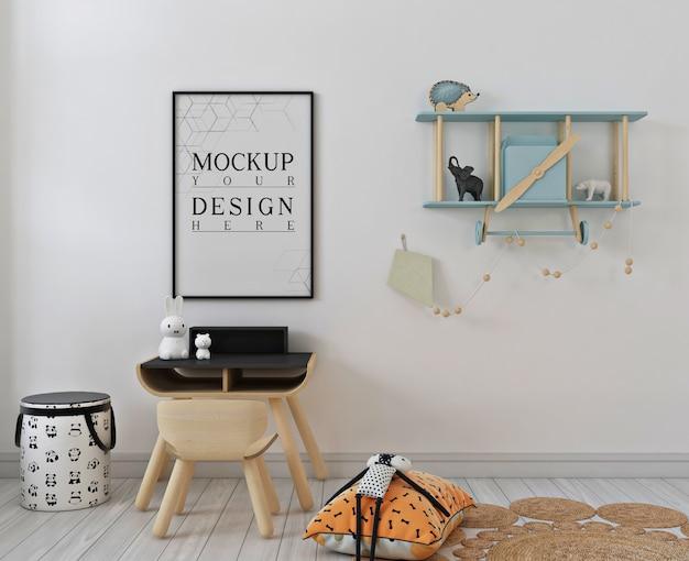 ポスターフレームのモックアップとシンプルな子供の寝室 Premium Psd