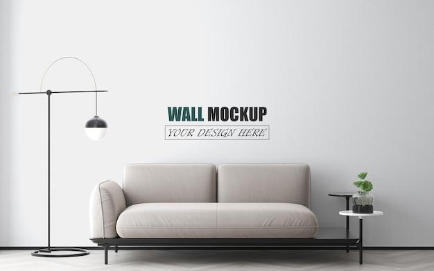 モダンな家具の壁のモックアップを備えたシンプルなリビングルーム Premium Psd