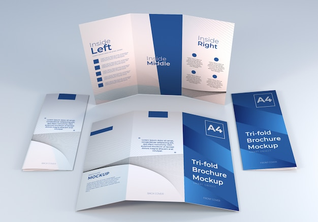 Simple minimalist a4 trifold brochure paper mockup design template for presentation Premium Psd