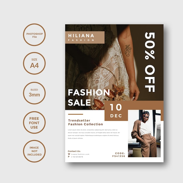 Live For Fashion Flyer Template Psd File: Simple And Minimalist Fashion Flyer Promotion Template