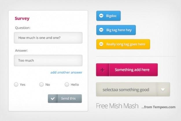 Просто набор смешать с веб-элементы Бесплатные Psd