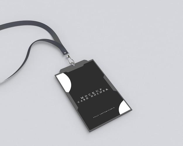 검은 색 Id 카드 소지자를위한 간단한 모형 프리미엄 PSD 파일