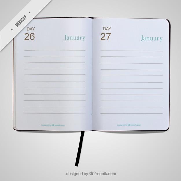 Простой дневник открыт макет Бесплатные Psd