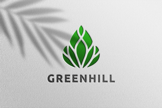 Simple realistic paper pressed logo mockup with plant shadow overlay Premium Psd