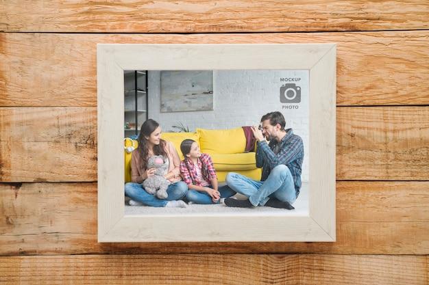 木製の背景にシンプルな長方形フレーム 無料 Psd