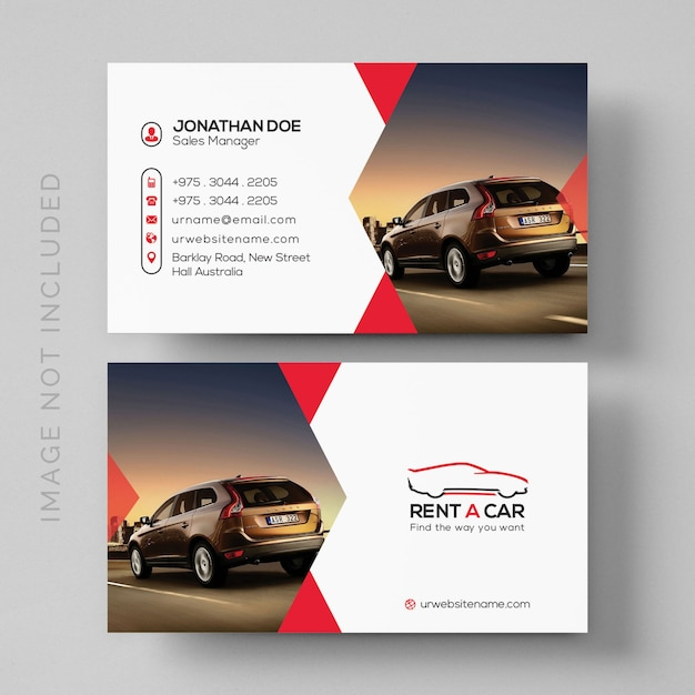 Simple Rent A Car Business Card Mockup With Image PSD File