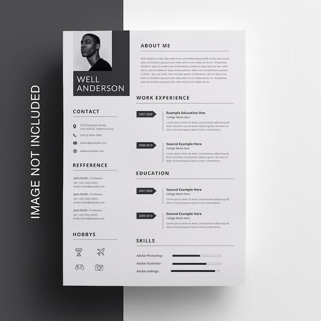 シンプルな履歴書デザイン Premium Psd