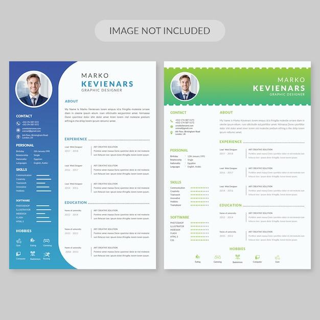 Simple Resume Template PSD File