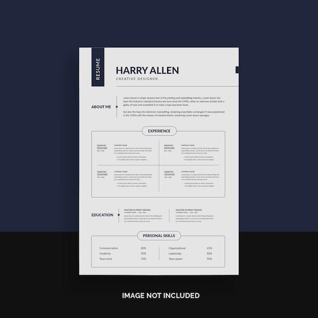 Simple resume template Premium Psd