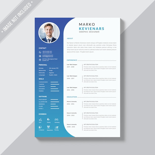 Simple resume themplate Premium Psd