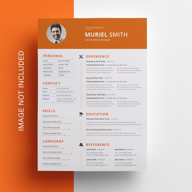Simple resume with topbar Premium Psd