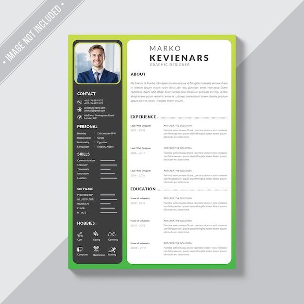 Simple resume Premium Psd