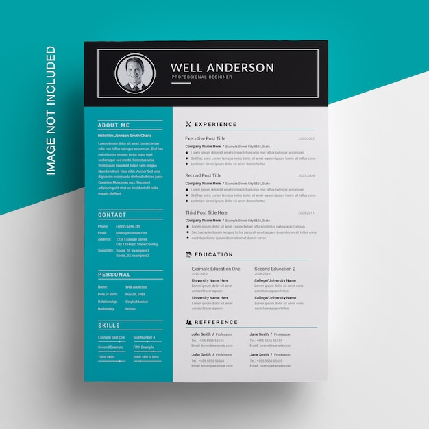 Simple sidebar resume design with paste accent Premium Psd