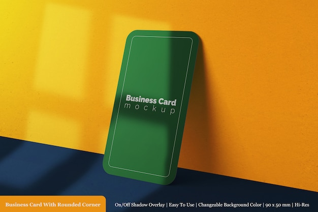 Простой квадратный закругленный угол визитной карточки компании макет дизайна Premium Psd