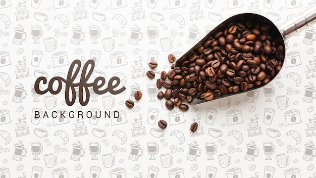 Simple wallpaper with coffee beans Free Psd
