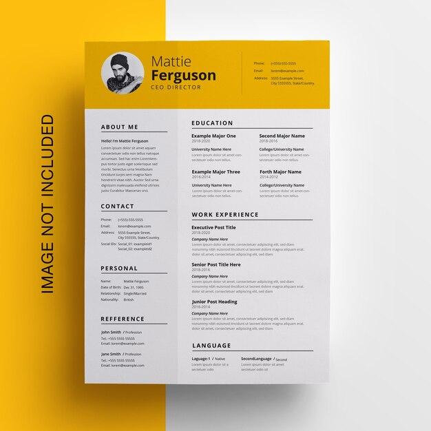 Простое желтое резюме с topbar Premium Psd