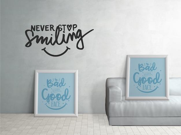 やる気を起こさせる引用符でシンプルな家の装飾 無料 Psd