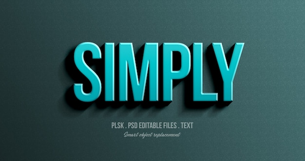 Simply 3d text style effect mockup Premium Psd