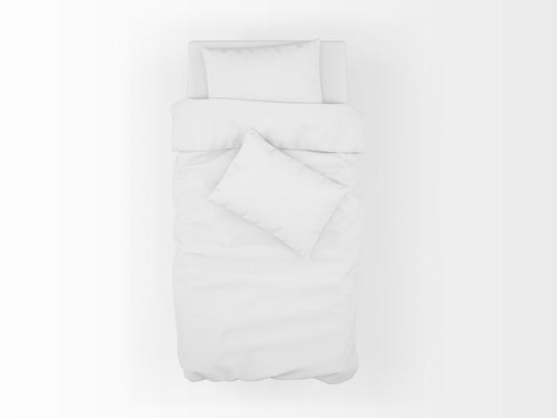 Макет односпальной кровати, изолированные на вид сверху Бесплатные Psd