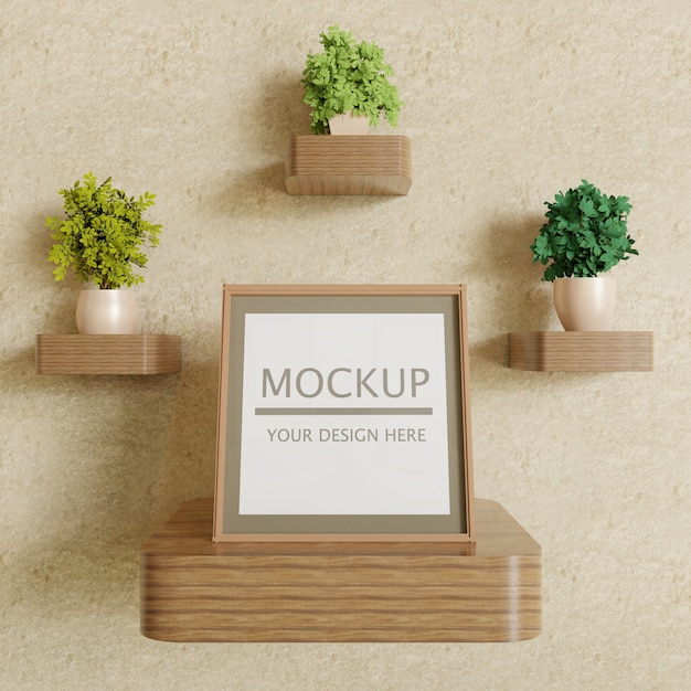 Single square frame mockup on wooden wall shelf with plants Premium Psd