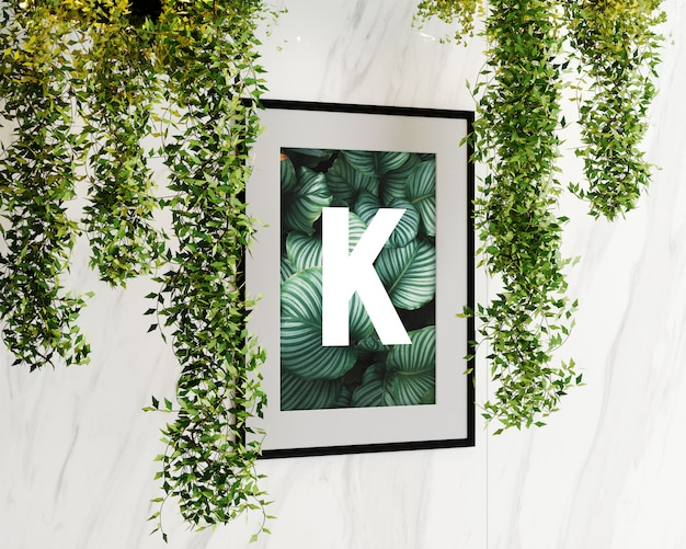 Single wall frame with flowers Premium Psd