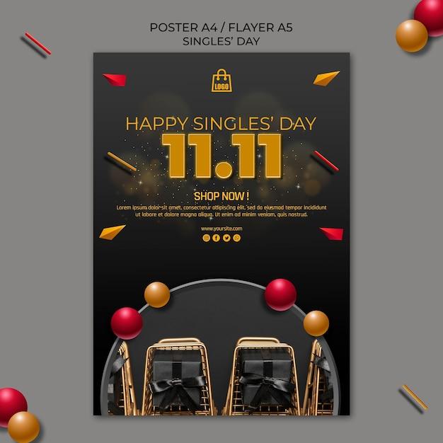 Шаблон плаката дня холостяков Бесплатные Psd
