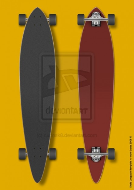 photo about Longboard Template Printable identify Skate longboard template PSD report Free of charge Down load