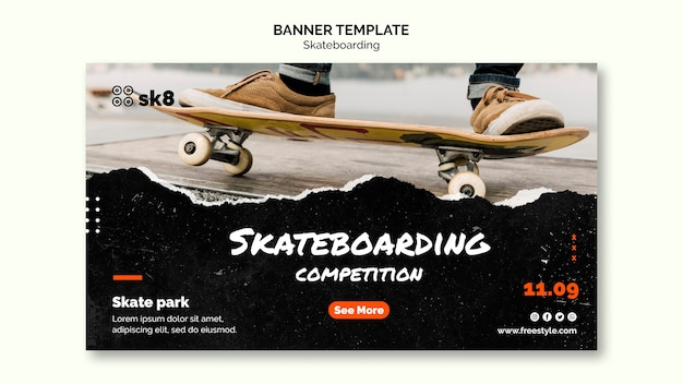Скейтборд концепция баннера шаблон Premium Psd