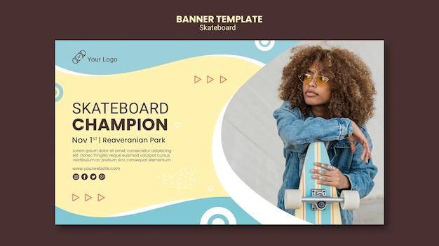 Modello di banner concetto di skateboard Psd Gratuite