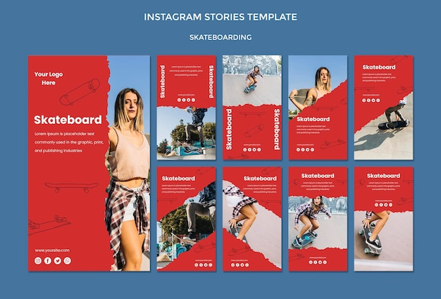 スケートボードのコンセプトinstagramストーリーテンプレート 無料 Psd