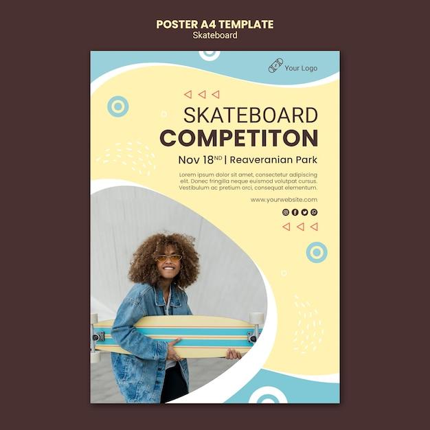 Modello di poster di concetto di skateboard Psd Gratuite