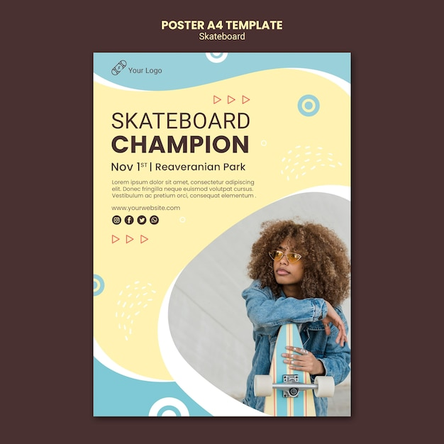 Skateboarding concept poster template Free Psd