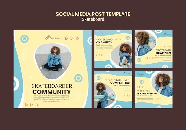 Modello di post sui social media di concetto di skateboard Psd Gratuite