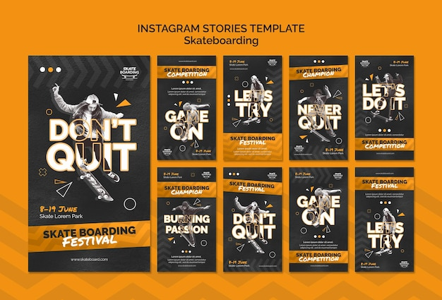 Skateboarding instagram stories template with photo Free Psd
