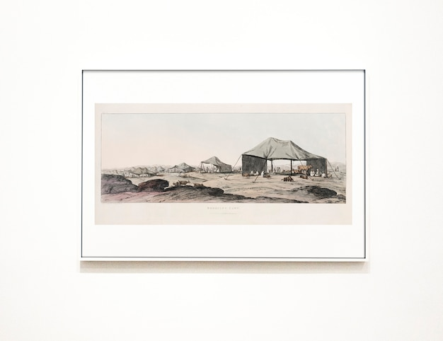 Sketch framed on a white wall Free Psd