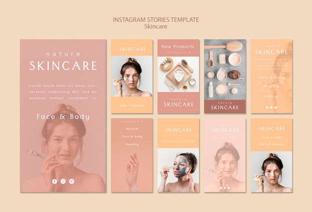 Skin care instagram stories template Free Psd