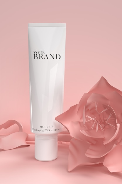 Skin care moisturizing cosmetic premium products on flowers surface Premium Psd