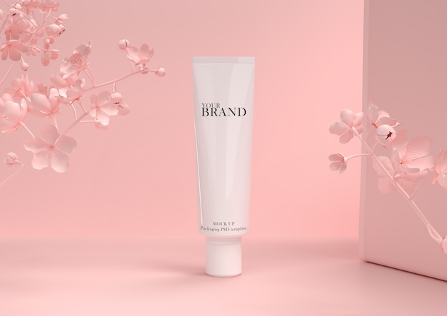 Skin care moisturizing cosmetic premium products on leaves wall. Premium Psd