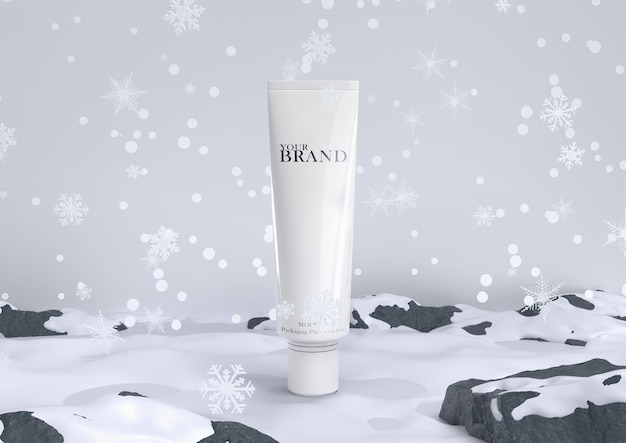 Skin care moisturizing cosmetic premium products in snow for christmas and winter. Premium Psd