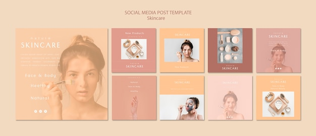 Skin care social media post template Free Psd