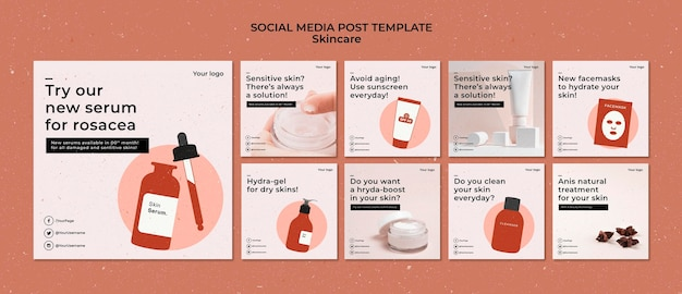Skincare instagram posts template with photo Free Psd