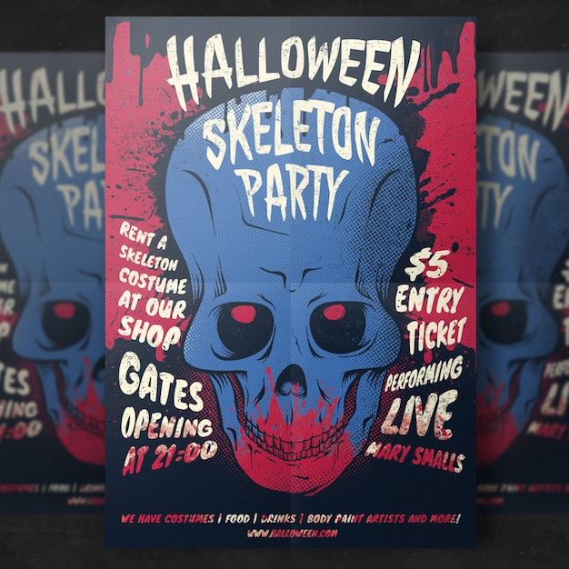 Skull halloween party flyer template Free Psd