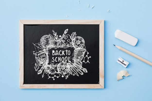 Slate mockup with back to school concept Free Psd