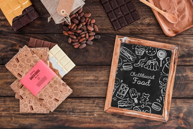 Slate mockup with chocolate concept Free Psd